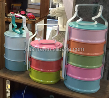 hot new products for 2016 Each layer are different colorful enamel tiffin carrier camping food carrier wholesales