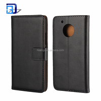Wholesale Alibaba Luxury Genuine Real Leather Flip Case Credit Card Holder Wallet Stand Cover For Moto G5