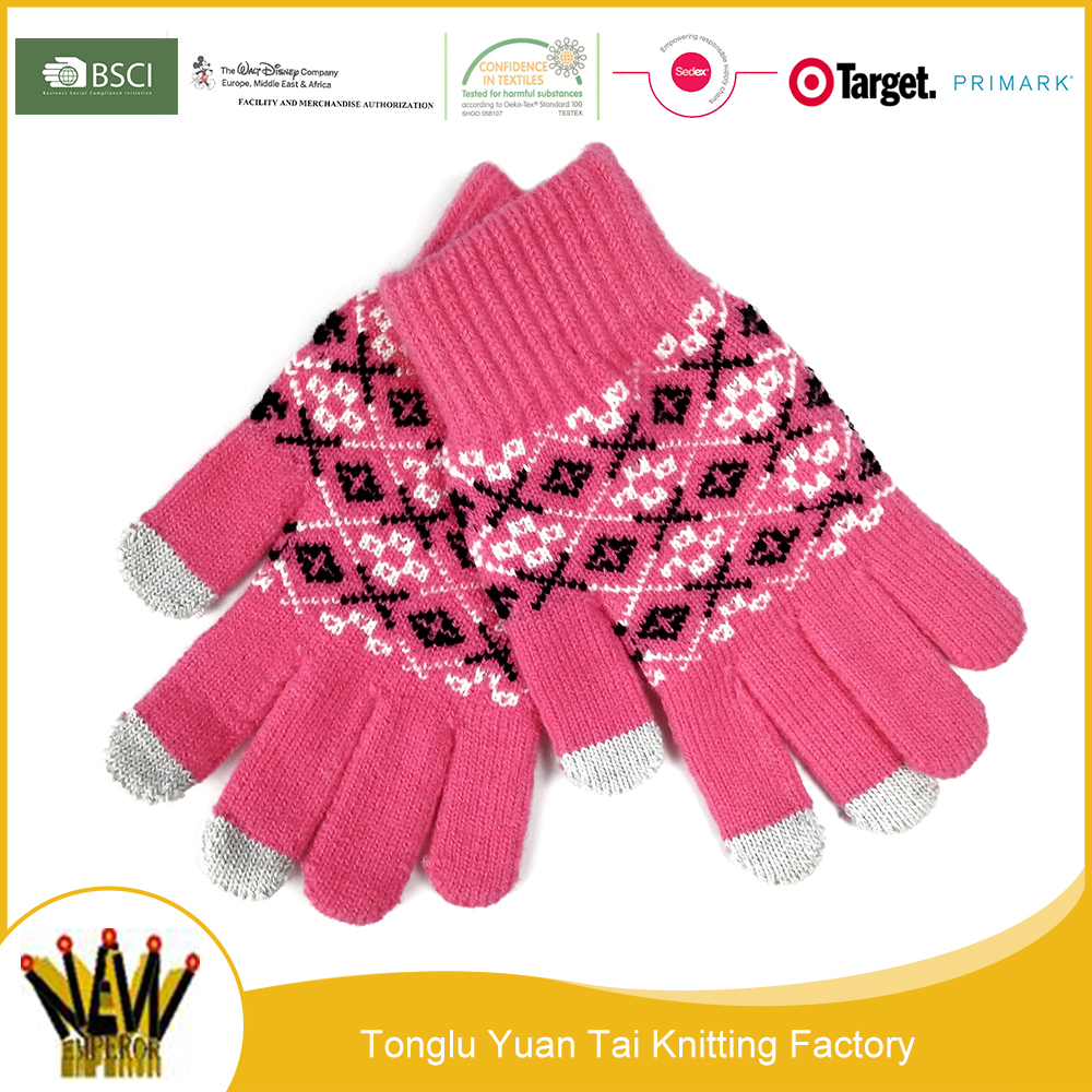 Adults children used winter warm knitting jacquard touch gloves