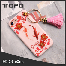 Beautiful fancy design goldfish Magpie 3D flower ring tassel soft tpu silicon phone case for iphone 6 7 plus