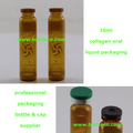 small amber 10ml vial glass bottle for collagen oral liquid packaging