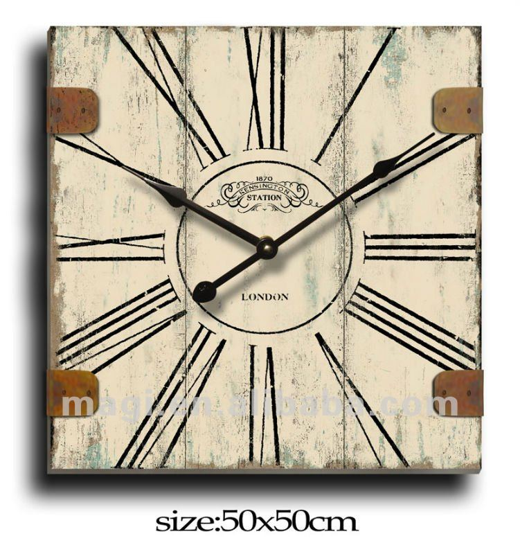 London Style Decorative Square wood wall clock retro