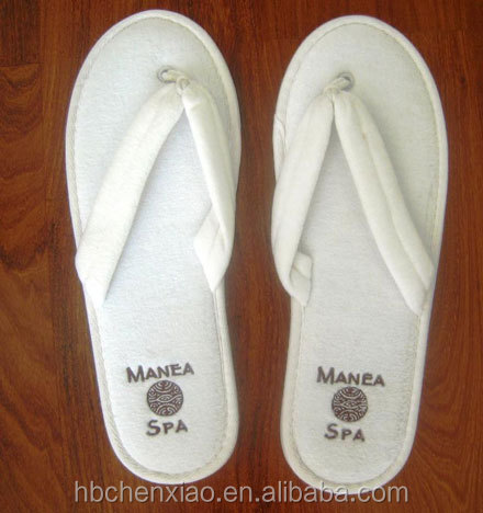 Terry towel luxury thong slippers with sole embroidery