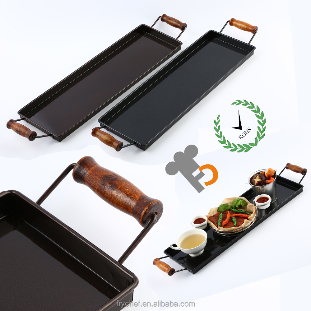 Nano Rectangle Food Storage Tray with Handle, Reliefs Dish, Dinner Platter F0112