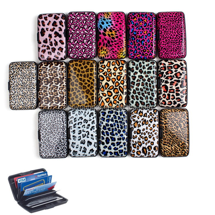 Leopard Printing RFID Blocking ID Card Guard Aluminum Wallet