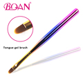 2017 Newest Rainbow Wood Handle Tongue Shape Oval Gel Nail Brush with Nylon Hair