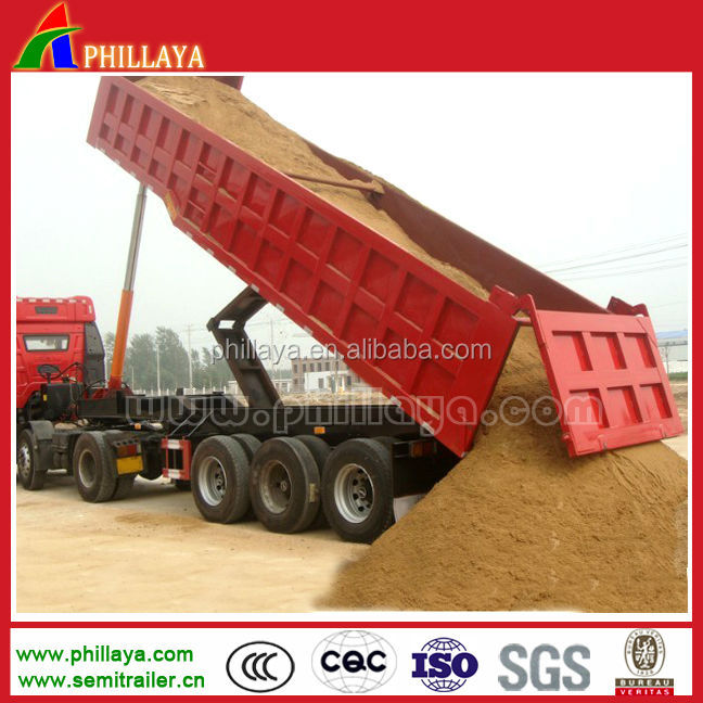 3 axle tipper semi trailer for sand / rock / mine transportation