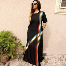 drop ship The rainbow stripe splicing pocket money loose big yards dress
