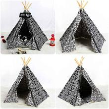 Geometric pattern blue fabric cloth ancient dog cat tent eco-friendly pet house