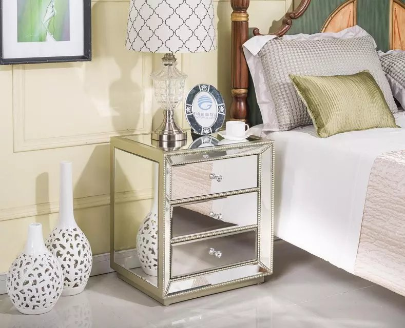 Home & Living Furniture mirrored bedside table mirrored end table mirrored side table