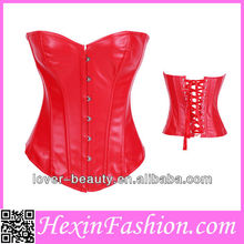 Wholesale Top Lady Waist Training Sexy Red PVC Corset