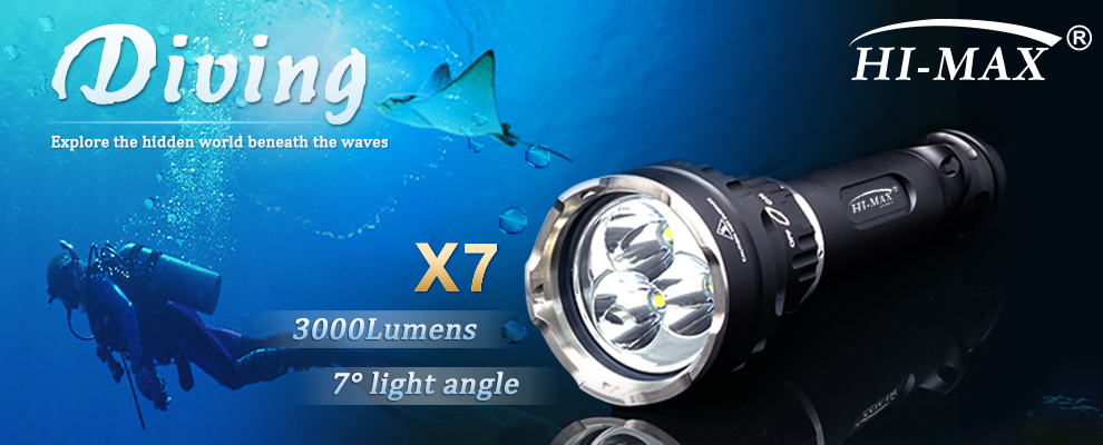 HI-MAX X7 3000 Lumen Most Powerful Wholesale Scuba Diving Professional Equipment Gear Price Underwater Led Flashlight