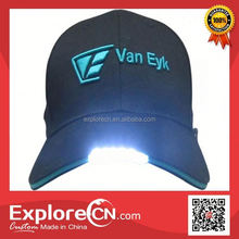 High quality baseball cap with built-in led light logo wash