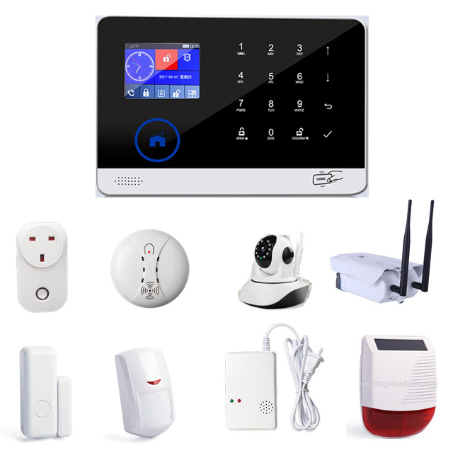 <strong>GSM</strong>/SMS/RFID Touch Alarm System with 2 remote controls and one door sensor and motion sensor