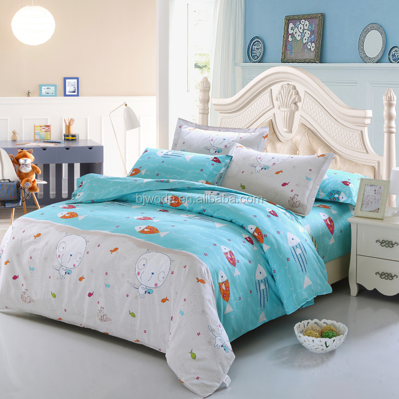 funny cartoon fish and cat print bedding set for kids(best choice)