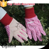 SRSAFETY lady gardening gloves with pvc dotted on palm work gloves
