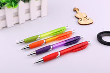 Transparent colored barrel ballpen for promotion plastic ballpoint pen with rubber grip