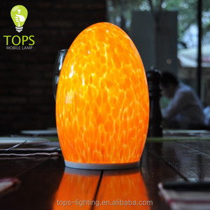 1.5W Water Proof IP64 Cordless Rechargeable Tiffany Style Home Decorative Restaurant/Hotel Glass Table Lamps