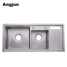 Handmade Double Bowl 304 cast iron Kitchen utility Sink clips Stainless Steel With Drainboard