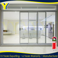 2016 High quality commercial wardrobe glass automatic sliding doors low price