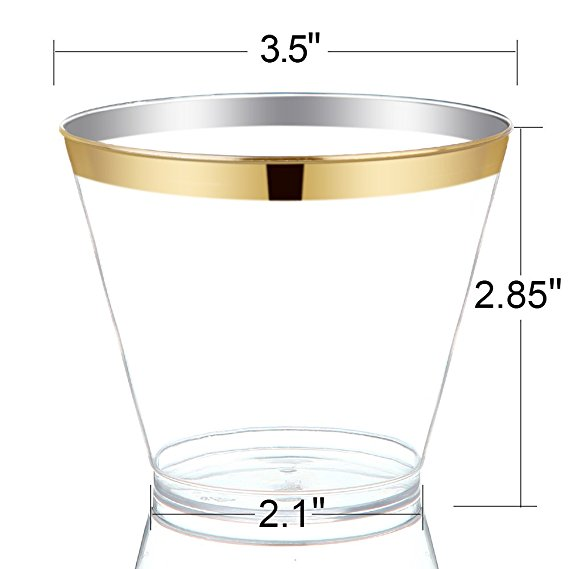 9oz Clear Plastic Tumblers with Gold Rim Disposable Wedding <strong>Cups</strong>