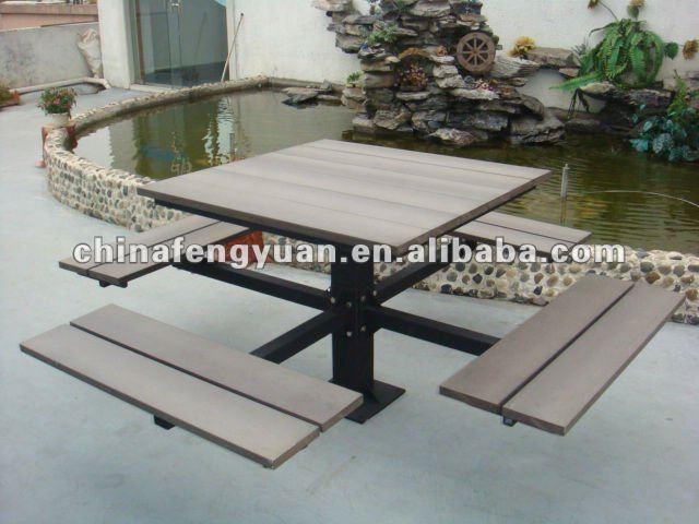 Outdoor picnic table setting