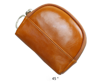 Mini Leather Coin Purse with Ring
