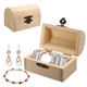 Natural Wooden With Lid Golden Lock Postcard Jewelry Case Storage Box Home Organizer Handmade Craft Bank Money Box