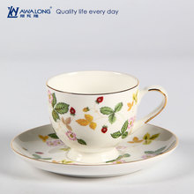 Hot sale good transmittance fine porcelain bone china silicone coffee cup holder and saucer for vending