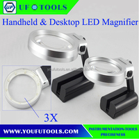 Handheld desktop dual-use flexible portable Magnifier with LED light
