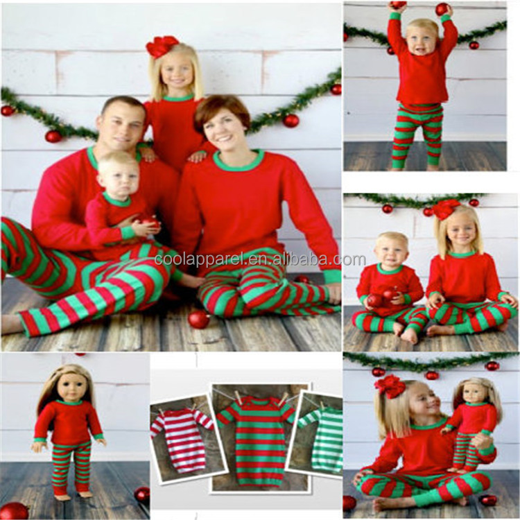 kids clothing sets sleeping wear for baby girl wholesale family striped christmas pajamas