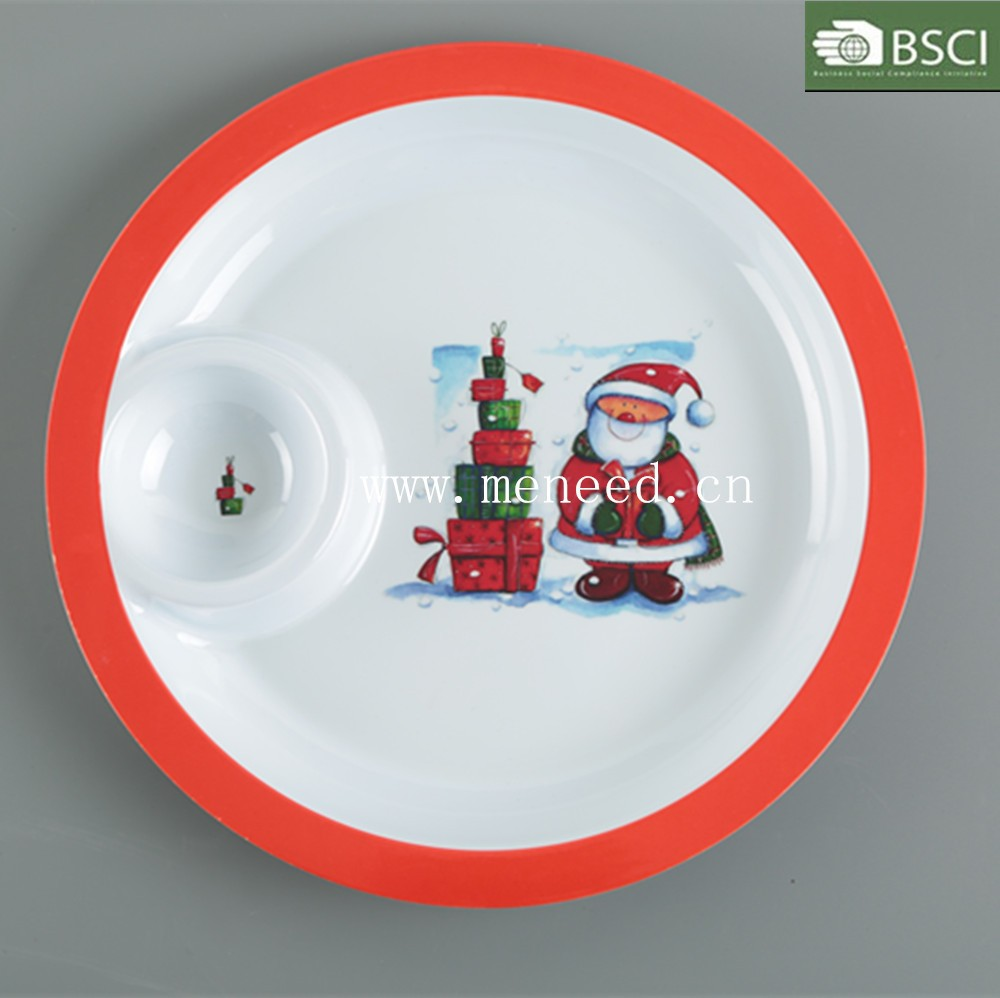 high quality plastic round melamine Christmas chip and dip