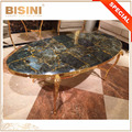 Exquisite and Precious Natural Gemstone and 24K Gold Plating Brass Curio Coffee Table