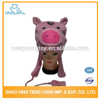 Professional manufacture High quality pink pig funny knitted hat