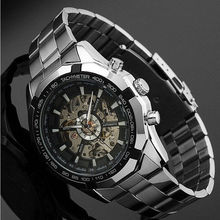 WINNER Watch Men promotional Full Stainless Steel Skeleton Auto Mechanical custom LOGO Watch Self-Wind Male Dress Clock