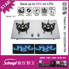 built in stainless steel household double burners gas stove