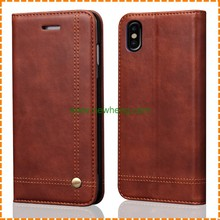 Retro Crazy Horse Line Card Slots Stand Flip Wallet leather case for Iphone X