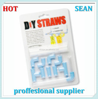 Plastic Connectable Drinking Straws Lime DIY Drinking Straw