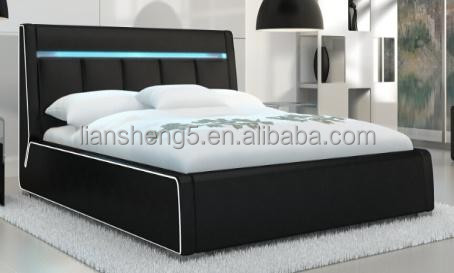 modern LED leather bed frame