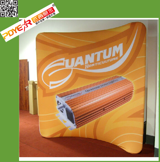 Portable Tension Fabric Display Wall 10' curved shape, Tube Display Stand 10' curved shape