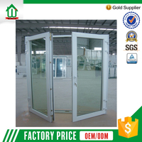 Safety double glass casement pvc doors best price