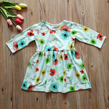 Baby girl long sleeve dress the newest spring kids feather floral cotton dress