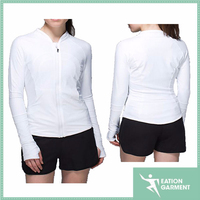fashion ladies long sleeve white sports jacket women, super breathable thumbholes softshell jacket