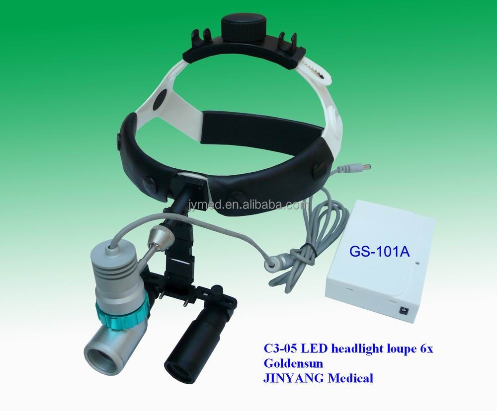medical illuminated 6x magnifier magnifying glass with led headlight