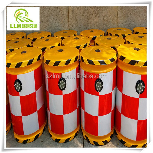 Direct manufacture road safety solar anti-bump fiberglass barrel