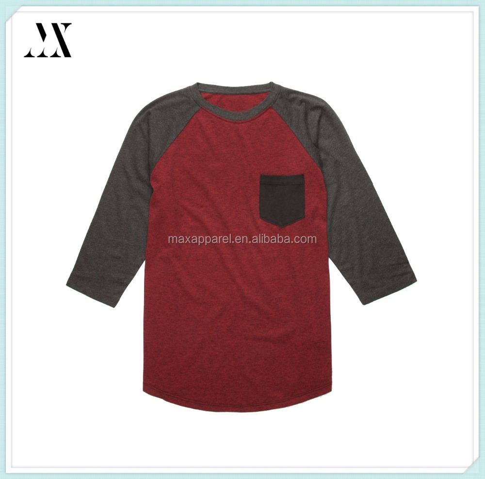 Custom wholesale tri color mens baseball tee 3/4 length raglan sleeves curved hem crew neck men t-shirt blank t-shirt