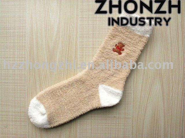 Girl's plain cotton terry winter cushioned socks