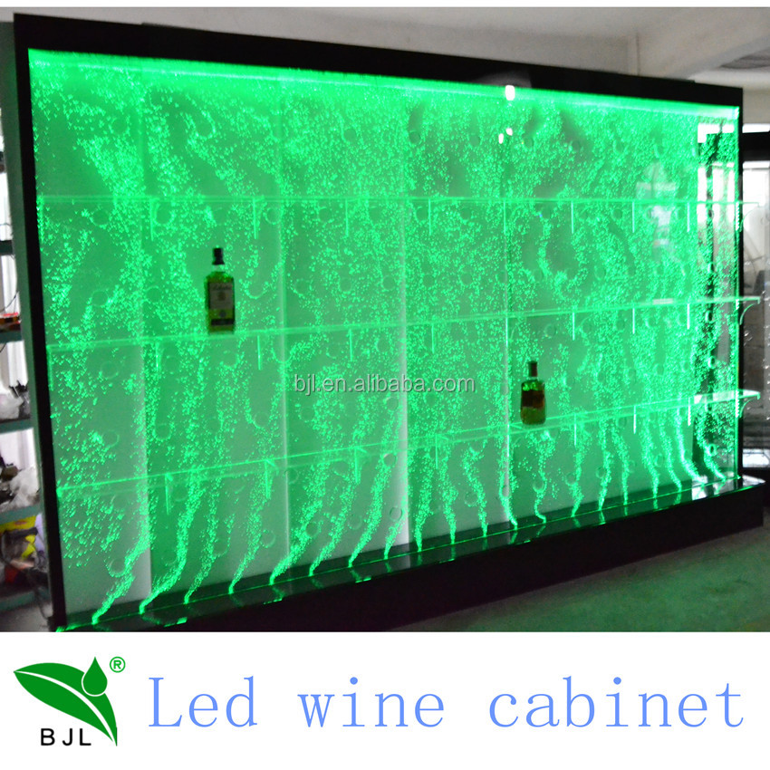 hotel/bar/restaurant use led wine display cabinet, water bubble display