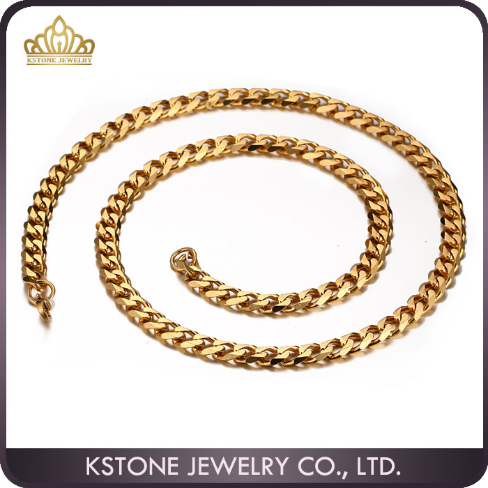 KSTONE 18k Gold Finish Hip Hop Chain Mens Miami Cuban Curb Chain 10mm Necklace