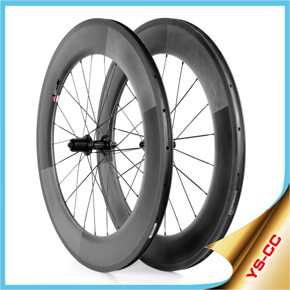 2015 YISHUNBIKE 700C Road Bike Cycling & Racing Wheel 88mm Clincher Works Well Durable Carbon Bicycle Wheels CC88C